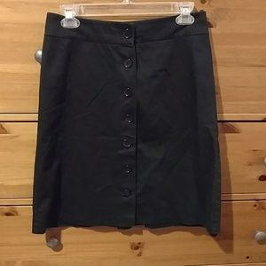 H&M button front black work skirt